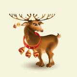 Διανυσματική απεικόνιση των ελαφιών Χριστουγέννων με τα κουδούνια Στοκ Εικόνα
