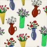 Διανυσματική απεικόνιση των ζωηρόχρωμων βάζων με το άνευ ραφής σχέδιο λουλουδιών Στοκ φωτογραφίες με δικαίωμα ελεύθερης χρήσης