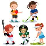 Διανυσματική απεικόνιση των διάφορων αθλητικών παιδιών σε ένα άσπρο υπόβαθρο Στοκ Εικόνες