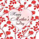 Διανυσματική απεικόνιση των κόκκινων τριαντάφυλλων και της ευτυχούς κάρτας ημέρας μητέρων ` s Στοκ Εικόνες