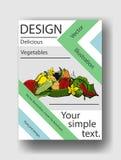 Διανυσματική απεικόνιση των λαχανικών και του απλού κειμένου σας Πρότυπο κάλυψης για τα φυλλάδια, αφίσες, εμβλήματα, κάρτες Στοκ Εικόνες