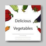 Διανυσματική απεικόνιση των λαχανικών Πρότυπο κάλυψης για τα φυλλάδια, αφίσες, εμβλήματα, κάρτες Στοκ φωτογραφία με δικαίωμα ελεύθερης χρήσης