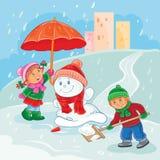 Διανυσματική απεικόνιση των μικρών παιδιών που παίζουν υπαίθρια το χειμώνα ελεύθερη απεικόνιση δικαιώματος