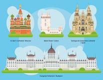 Διανυσματική απεικόνιση των μνημείων και των ορόσημων στο σύνολο 2 της Ευρώπης Στοκ Φωτογραφία