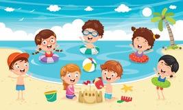 Διανυσματική απεικόνιση των παιδιών που παίζουν στην παραλία ελεύθερη απεικόνιση δικαιώματος