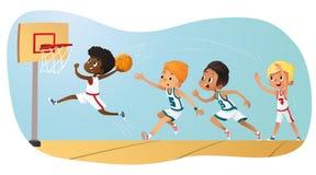 Διανυσματική απεικόνιση των παιδιών που παίζουν την καλαθοσφαίριση Παίζοντας παιχνίδι ομάδας Ανταγωνισμός ομάδας διανυσματική απεικόνιση