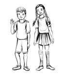 Διανυσματική απεικόνιση των παιδιών σχολείου, του αγοριού και του κοριτσιού Στοκ Φωτογραφία