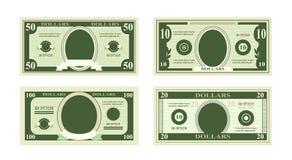Διανυσματική απεικόνιση των πλαστών τραπεζογραμματίων δολαρίων Μπιλ εκατό δολάρια κατάλληλα για τις κάρτες έκπτωσης στο άσπρο υπό απεικόνιση αποθεμάτων