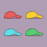 Διανυσματική απεικόνιση των πολύχρωμων καπέλων του μπέιζμπολ Διανυσματική απεικόνιση