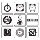 Ρολόγια, χρονικά εικονίδια καθορισμένα Στοκ Φωτογραφία