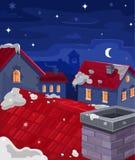 Διανυσματική απεικόνιση των σπιτιών τη νύχτα Στοκ Εικόνα