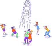 Διανυσματική απεικόνιση των ταξιδιωτών στον κλίνοντας πύργο του επίπεδου σχεδίου της Πίζας Διανυσματική απεικόνιση