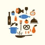 Διανυσματική απεικόνιση των τροφίμων και του σκεύους για την κουζίνα στον κύκλο Μαγειρεύοντας κατηγορίες, έννοια σειρών μαθημάτων στοκ εικόνες