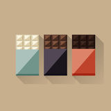 Διανυσματική απεικόνιση των φραγμών σοκολάτας: λευκό, γάλα, σκοτεινό διανυσματική απεικόνιση