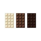 Διανυσματική απεικόνιση των φραγμών σοκολάτας: λευκό, γάλα, σκοτεινό Στοκ Εικόνα