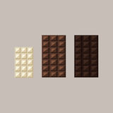 Διανυσματική απεικόνιση των φραγμών σοκολάτας: λευκό, γάλα, σκοτεινό απεικόνιση αποθεμάτων