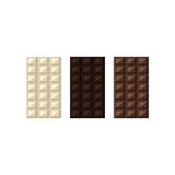 Διανυσματική απεικόνιση των φραγμών σοκολάτας: λευκό, γάλα, σκοτεινό Στοκ Φωτογραφίες