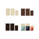 Διανυσματική απεικόνιση των φραγμών σοκολάτας: λευκό, γάλα, σκοτεινό Στοκ Εικόνες