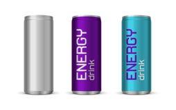 Διανυσματική απεικόνιση των φωτεινών δοχείων ενεργειακών ποτών ελεύθερη απεικόνιση δικαιώματος