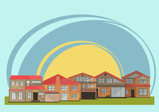 Διανυσματική απεικόνιση των χαριτωμένων ζωηρόχρωμων σπιτιών κινούμενων σχεδίων για την πώληση ή το μίσθωμα Διανυσματική επίπεδη α απεικόνιση αποθεμάτων