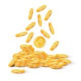 Διανυσματική απεικόνιση των χρυσών νομισμάτων Στο λευκό Στοκ Εικόνες