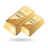 Διανυσματική απεικόνιση των χρυσών πλινθωμάτων στο άσπρο υπόβαθρο Ελεύθερη απεικόνιση δικαιώματος