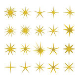 Διανυσματική απεικόνιση των χρυσών σπινθήρων και των στοιχείων σπινθήρων ελεύθερη απεικόνιση δικαιώματος