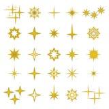 Διανυσματική απεικόνιση των χρυσών στοιχείων και των συμβόλων σπινθήρων διανυσματική απεικόνιση