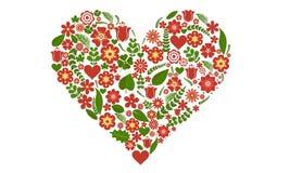 Διανυσματική απεικόνιση των floral γεμισμένων μορφή λουλουδιών καρδιών βαλεντίνων doodle Στοκ Φωτογραφίες