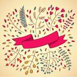 Διανυσματική απεικόνιση των floral κορδελλών και των συνόρων διανυσματική απεικόνιση