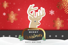 Διανυσματική απεικόνιση υποβάθρου ταράνδων Χαρούμενα Χριστούγεννας Στοκ εικόνα με δικαίωμα ελεύθερης χρήσης