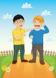 Διανυσματική απεικόνιση φίλων παιδιών παρηγορώντας απεικόνιση αποθεμάτων