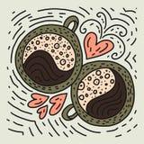 Διανυσματική απεικόνιση φλυτζανιών καφέ Doodle στοκ φωτογραφία με δικαίωμα ελεύθερης χρήσης