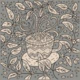 Διανυσματική απεικόνιση φλυτζανιών καφέ Doodle στοκ εικόνα