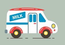 Διανυσματική απεικόνιση φορτηγών γάλακτος παράδοσης Στοκ Εικόνες