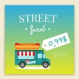 Διανυσματική απεικόνιση φορτηγών τροφίμων οδών Στοκ εικόνα με δικαίωμα ελεύθερης χρήσης