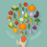 Διανυσματική απεικόνιση φρέσκων λαχανικών με τα επίπεδα εικονίδια Στοκ Φωτογραφία