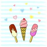 Διανυσματική απεικόνιση, φωτεινό επίπεδο παγωτό με τις καρδιές σε ένα ριγωτό υπόβαθρο ελεύθερη απεικόνιση δικαιώματος