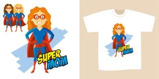 Διανυσματική απεικόνιση χαρακτήρα κινουμένων σχεδίων Supermom γυναικών Superhero Στοκ Εικόνα