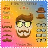 Διανυσματική απεικόνιση χαρακτήρα Hipster με τα στοιχεία και τα εικονίδια Hipster. Τρύγος που τίθεται για το σχέδιό σας. Στοκ φωτογραφίες με δικαίωμα ελεύθερης χρήσης