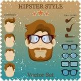 Διανυσματική απεικόνιση χαρακτήρα Hipster με τα στοιχεία και τα εικονίδια Hipster. Τρύγος που τίθεται για το σχέδιό σας Στοκ εικόνα με δικαίωμα ελεύθερης χρήσης