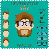 Διανυσματική απεικόνιση χαρακτήρα Hipster με τα στοιχεία και τα εικονίδια Hipster. Τρύγος που τίθεται για το σχέδιό σας. Στοκ Εικόνες