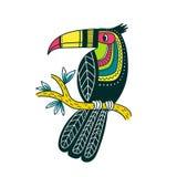 Διανυσματική απεικόνιση χαριτωμένου ζωηρόχρωμου toucan στο ύφος boho Στοκ Εικόνες