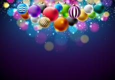 Διανυσματική απεικόνιση Χαρούμενα Χριστούγεννας με τις πολύχρωμες διακοσμητικές σφαίρες στο λαμπρό μπλε υπόβαθρο Σχέδιο καλής χρο Στοκ φωτογραφίες με δικαίωμα ελεύθερης χρήσης
