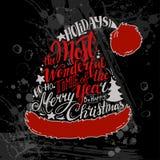 Διανυσματική απεικόνιση χειμερινών διακοπών Καπέλο Santa σκιαγραφιών Χριστουγέννων με την εγγραφή χαιρετισμού Στοκ εικόνες με δικαίωμα ελεύθερης χρήσης