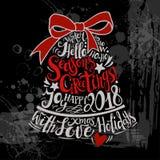 Διανυσματική απεικόνιση χειμερινών διακοπών Κουδούνι σκιαγραφιών Χριστουγέννων με την εγγραφή χαιρετισμού Στοκ Εικόνες