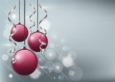 Διανυσματική απεικόνιση Χριστουγέννων - μαγικά κόκκινα μπιχλιμπίδια υποβάθρου, ιπτάμενων ή πρόσκλησης Στοκ εικόνα με δικαίωμα ελεύθερης χρήσης