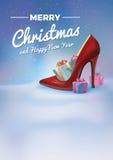 Διανυσματική απεικόνιση Χριστουγέννων - μαγική υπόβαθρο, ιπτάμενο ή πρόσκληση Στοκ Εικόνα
