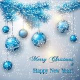 Διανυσματική απεικόνιση Χριστουγέννων με τον κλάδο δέντρων και Στοκ Εικόνες