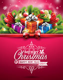 Διανυσματική απεικόνιση Χριστουγέννων με το τυπογραφικό σχέδιο και λαμπρά στοιχεία διακοπών στο κόκκινο υπόβαθρο Στοκ φωτογραφία με δικαίωμα ελεύθερης χρήσης